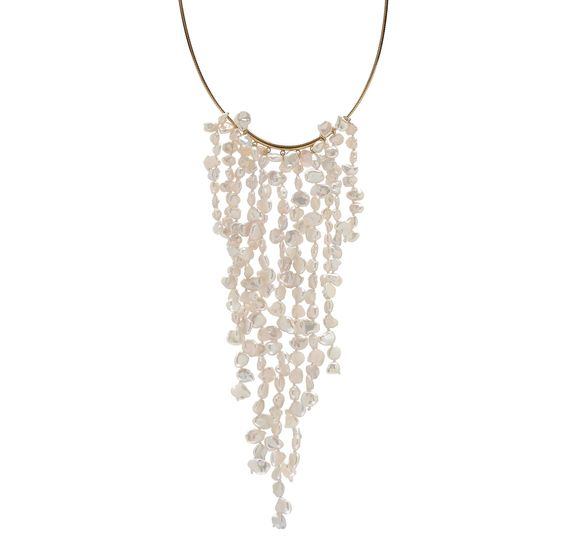 Buy Pearl Lustre Gold Plate Sterling Silver Keshi Freshwater Pearl Bib Necklace - Pearl Lustre - Necklaces - Online Shopping for Canadians 199.99
