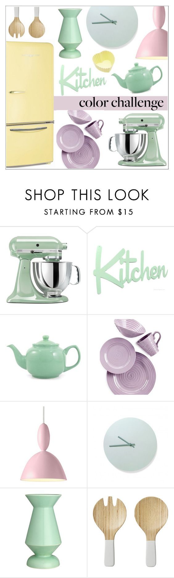 """""""Color Challenge: Pretty Pastels"""" by sebi86 ❤ liked on Polyvore featuring interior, interiors, interior design, home, home decor, interior decorating, KitchenAid, Portmeirion, Muuto and Menu"""