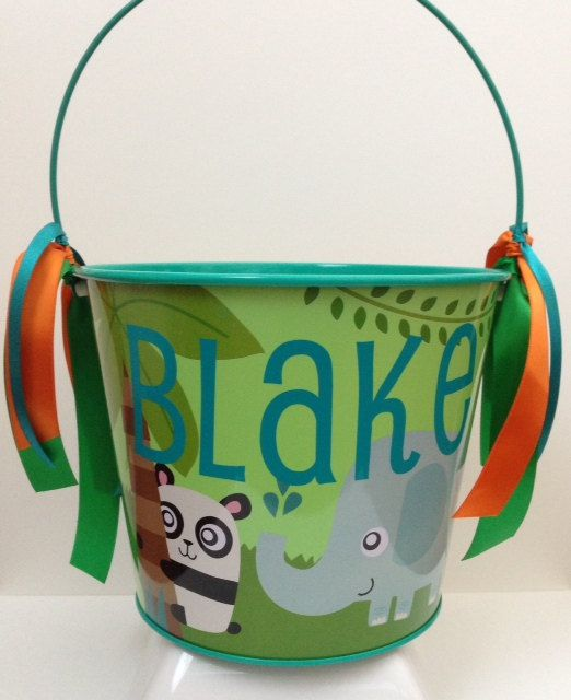 JUNGLE THEME EASTER Bucket  Animal theme  by Partiesandpastries Cute Easter Buckets now available in our Etsy Shop! Themes include Zebra Print, Jungle Safari, Outer Space, and Pirates! We have limited quantities, so order early!!