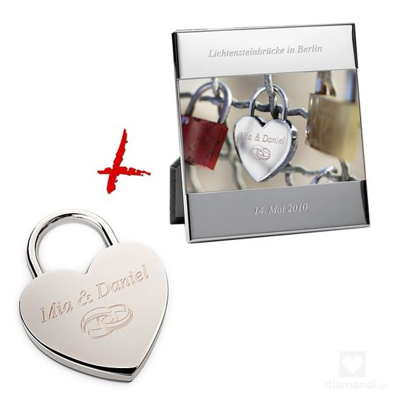 lovelock and picture frame custom engraved - Liebesschloss und Bilderrahmen mit persönlicher Gravur #love #lovelock #lovepadlock #engraving