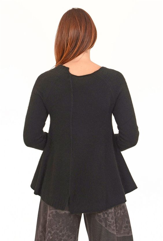 Shifted Seam Sweater, Black