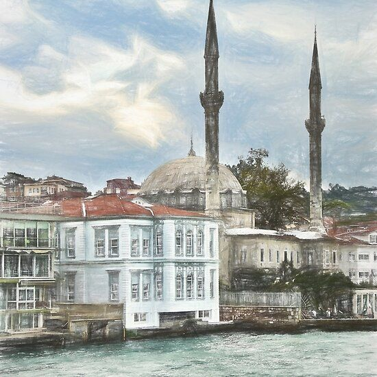 Bosporus Shoreline At Istanbul In Turkey Shoreline Istanbul Poster Wall Art
