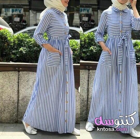 فساتين مقلمه بالطول للمحجبات فساتين مخططه بالطول شميزات مخططه بالطول فساتين مقلمه للمحجبات Kntosa Com 09 19 156 Dresses Fashion Maxi Dress