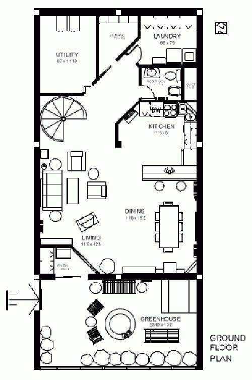 Plan for 3 level, 4 bedroom earth sheltered home with greenhouse ...