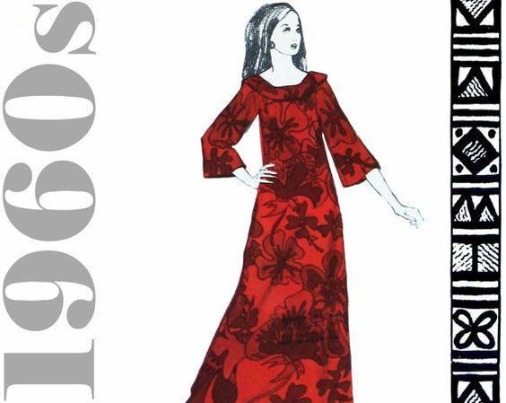 Hawaiian Dress Mu Mu Pattern 1960s Long Dress by ThePerfectPattern