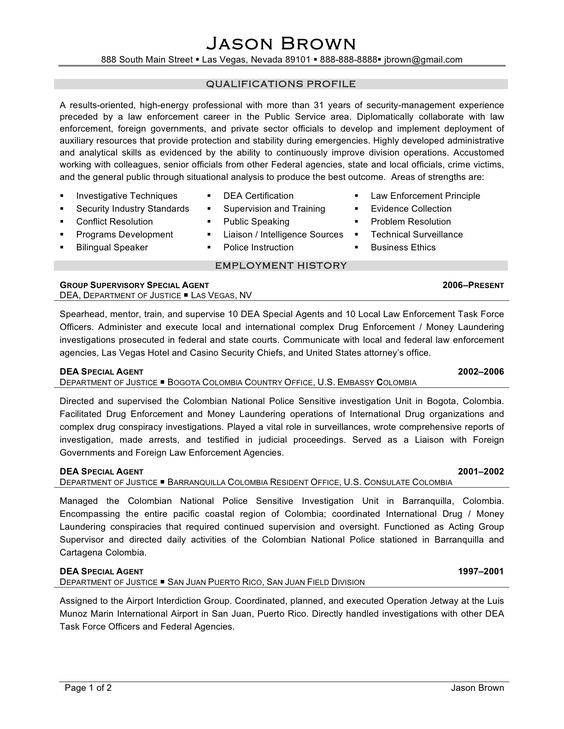 Security Resume Examples -    wwwjobresumewebsite security - special agent sample resume