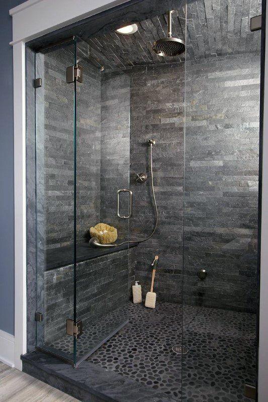 Top 50 Best Modern Shower Design Ideas Walk Into Luxury Modern Shower Design Stone Shower Grey Bathroom Tiles