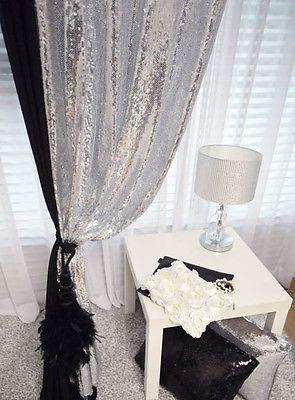 Handmade Silver Sequins Drops Single Curtain Glitter Drapery Panel ...