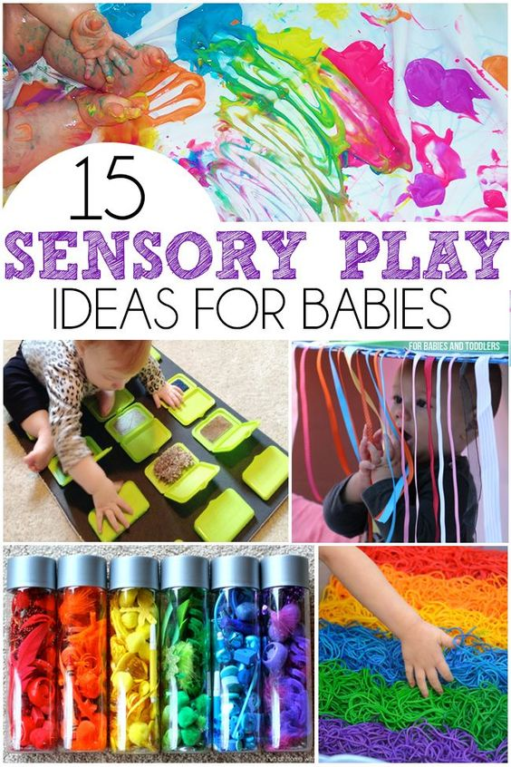 15 Sensory Play Ideas For Babies - Includes a ton of easy taste safe recipes, upcycled sensory boards, and sensory bottles!