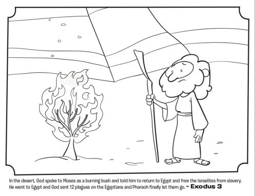 Kids coloring page from what 39 s in the bible featuring for Burning bush coloring page