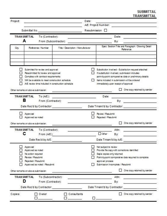Doc Document Transmittal Form Template Transmittal Format – Submittal Transmittal Form