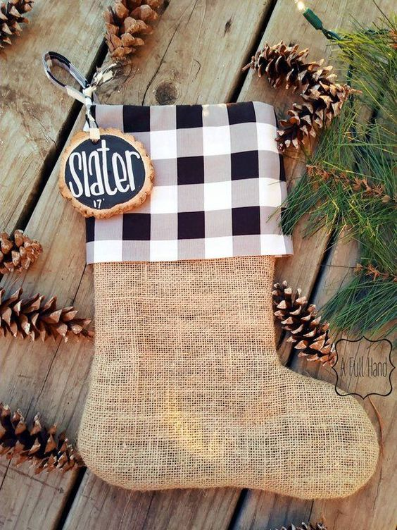 #ad Personalized Buffalo Plaid Christmas Stocking, Neutral Stocking, Black and White Stocking, Buffalo Check, Farmhouse plaid, buffalo check