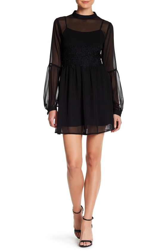 Long Sleeve Lace Inset Dress by Love, Zoe on @HauteLook