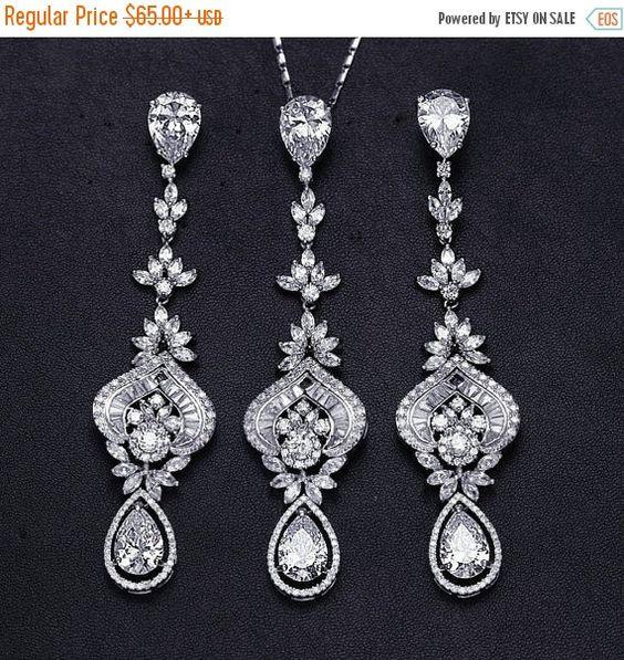 SALE Bridal Party CZ Necklace Earrings Set by EleganceByKate