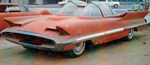The actual 1955 Lincoln Futura, purchased for a dollar, arriving at George Barris' shop where it was eventually transformed into the Batmobile