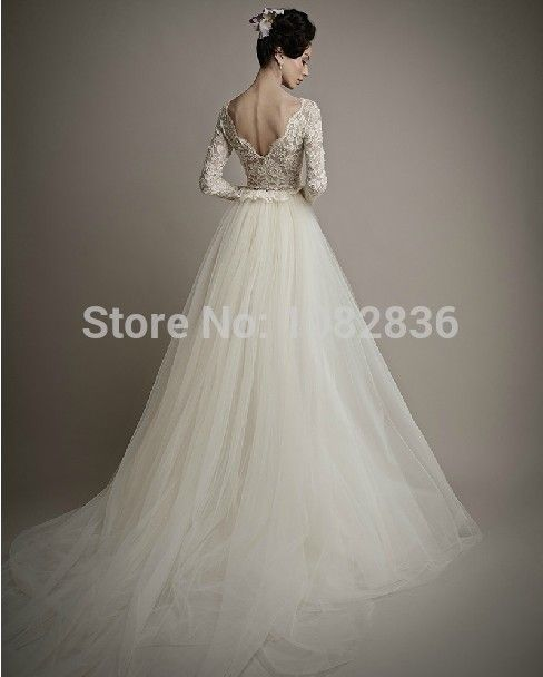 2015 Long Sleeve Bridal Gowns Lace Wedding Dress Sexy V-neck Backless Wedding Gown Vestido de noiva including the Veil