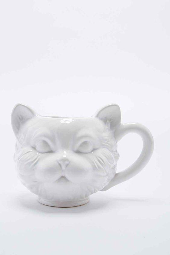 Tasse mit Katzengesicht