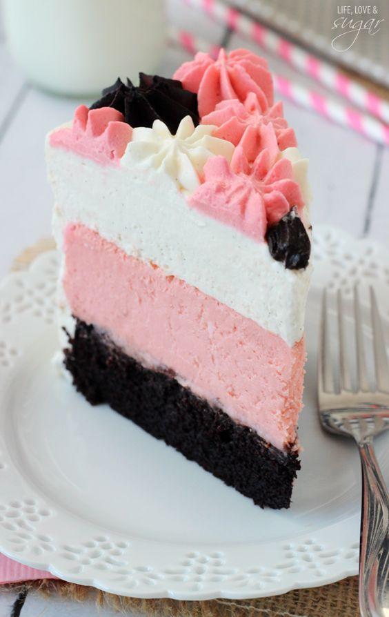 Neapolitan Millionaire Cake - vanilla bean mousse, strawberry cheesecake, chocolate cake!