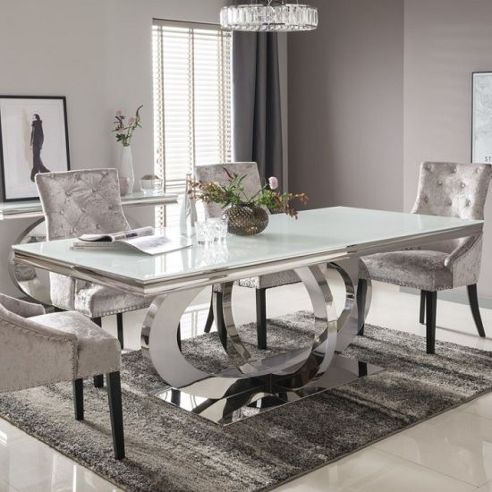 Barney Glass Dining Table Large In White And Polished Metal Base Dining Room Table Marble Dining Table Table