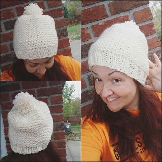 Finished up a thick & warm creamy hat. Perfect for every fall outfit. This one is staying on my head. ❤🐏 #rebeccajoknits #knit #knittersofinstagram #knithat  #knitstagram:
