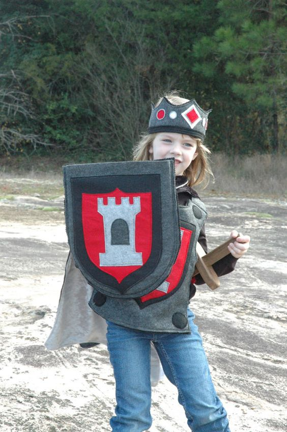 Ritter Schild rot und schwarz - Halloween-Kostüm - Halloween-Kostüm - Kind Kostüm
