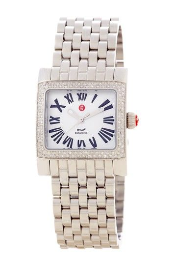 Michele  Women's MW2 Mini Diamond Stainless Steel Bracelet Watch