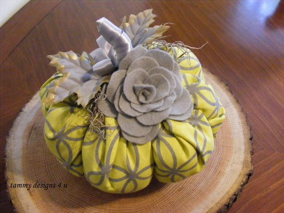 Stuffed Pumpkin, Fabric Pumpkin, Curved Diamond Fabric, Gray and Yellow Pumpkin…