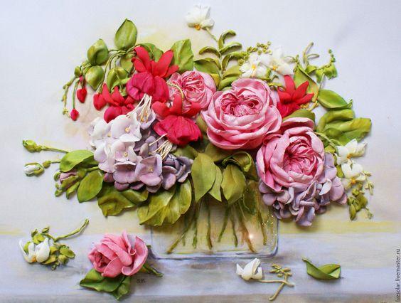 Вышивка розы лентами от светланы