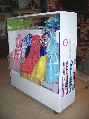 Hooks Instead Of Hangers For Little Girls Dress Up Storage