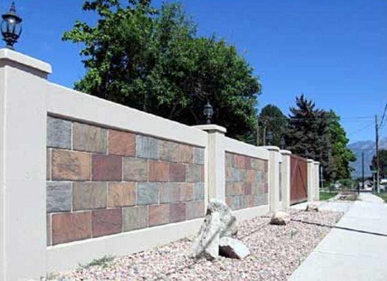 Retaining Wall Fence Block Style Cast Stone Fencepicturesdotorg Jpg 1000 582 Retaining Wall Fence Fence Design Brick Fence