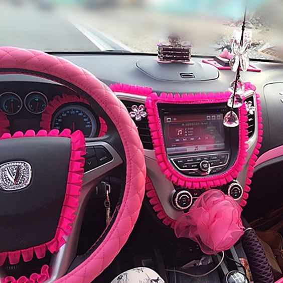 car diy ruffle lace fringe for interior decorations hot pink decal cars lace and white lace. Black Bedroom Furniture Sets. Home Design Ideas