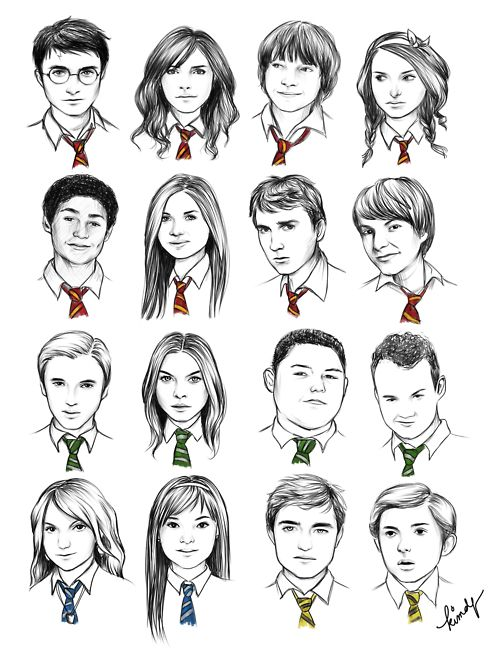 Hogwarts students, by the color of their ties. These are amazing! My only question, who do you think the girl at the top right is? She looks more like Natalie Portman than a Harry Potter character