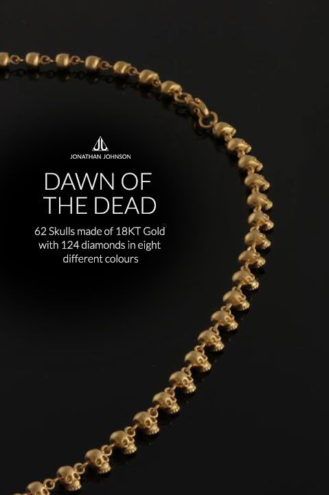 DAWN OF THE DEAD Necklace - 62 Skulls made of 18KT Gold with 124 diamonds in eight different colours #jonathanjohnson #necklace #jewelry #jewellery #crafts #gifts