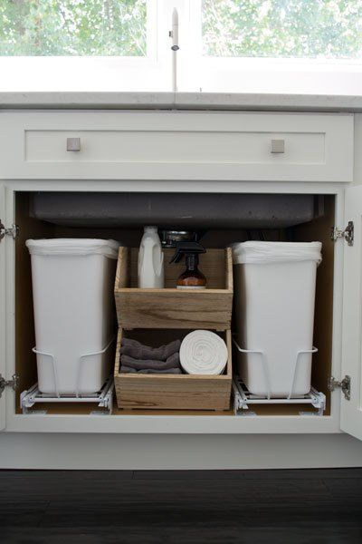 Amazing DIY Pull Out Trash Can In A Kitchen Cabinet