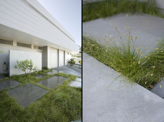 Softening the hard edges concrete grass contemporary for Hard surface garden designs