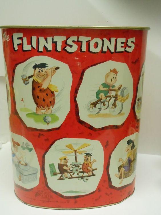 RARE Vintage 1960 The Flintstones Metal Trash Can Waste Basket EBay Cans Pinterest