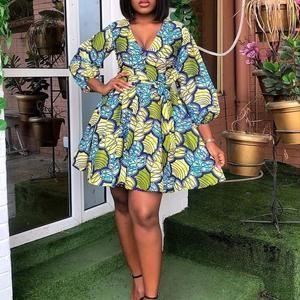 African print long sleeved wrap dress