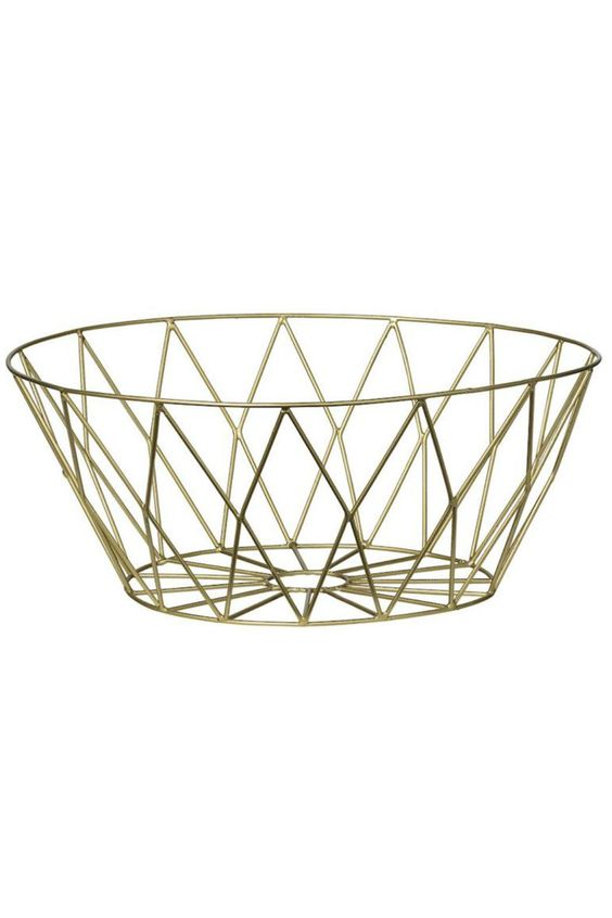 "Gold metal basket. Looks great empty or filled with your favorite fruit or veggies on your kitchen countertop. Also works on your cocktail table or entry table.  Measures: 9.75"" Round x 4""H  Gold Metal Basket by Bloomingville. Home & Gifts - Home Decor Montana"