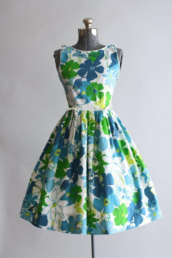1950's Floral Print Sun Dress:
