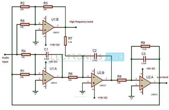 Active Audio Crossover Circuit Circuit diagram