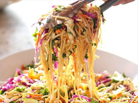 Ree's Asian Noodle Salad : Ree preps a flavorful Asian Noodle Salad with plenty of fresh vegetables.