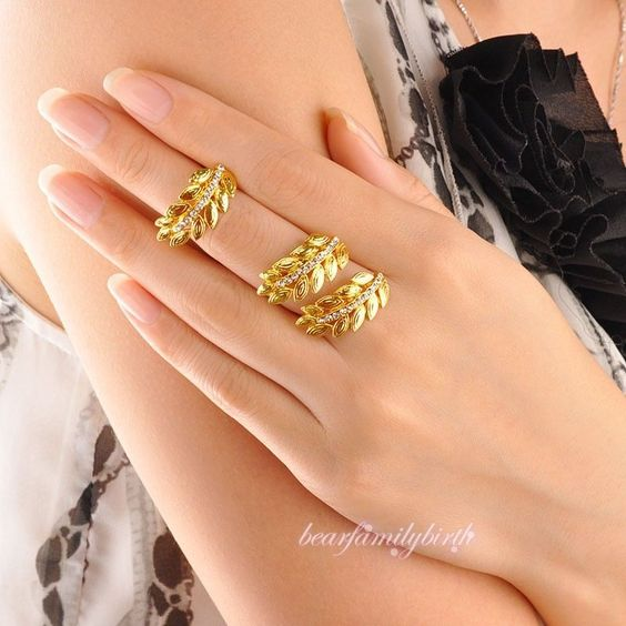 Fashion Zircon Knuckle Midi-Finger Ring Set Leaf Design Copper Alloy Womens R992 #Bearfamilybirth #Cocktail