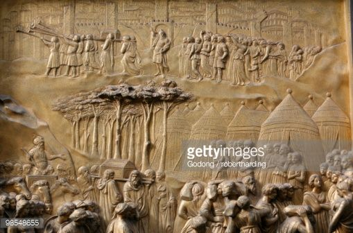 Depiction of the Walls of Jericho, Gates of Paradise, bronze doors of the Baptistry of San Giovanni, Florence, Tuscany, Italy, Europe