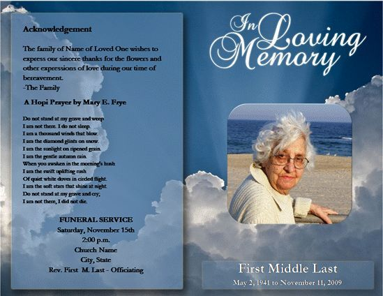 Pamphlet Order of Service Funeral Memorial Funeral Program - funeral templates free