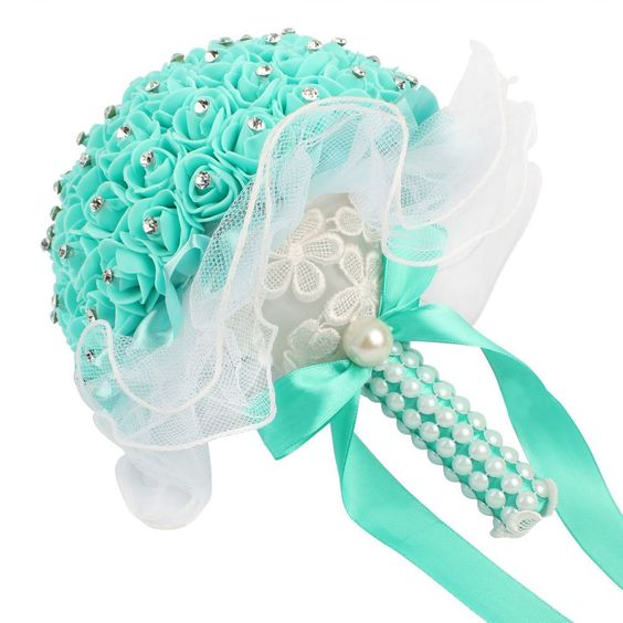 AerWo Bridal Bouquet - Mint Green Wedding Flower Bouquet Handmade Rose Rhinestone Pearl Bridal Bouquet Artificial Silk Flower with Lace - Being the Most Beautiful Bride ** Continue to the product at the image link.
