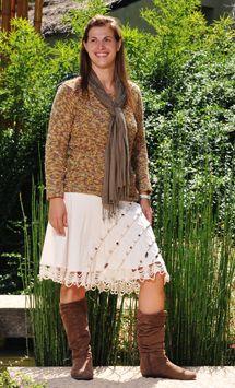 Sweter a la base tejido a dos agujas con lana fantasia, creado por Silvana gloria tejidos
