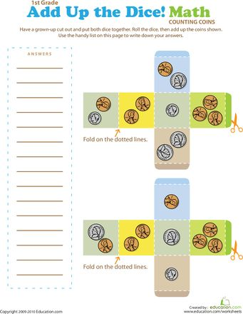 Play Dice Coin Counting! | Coins, Money worksheets and Plays