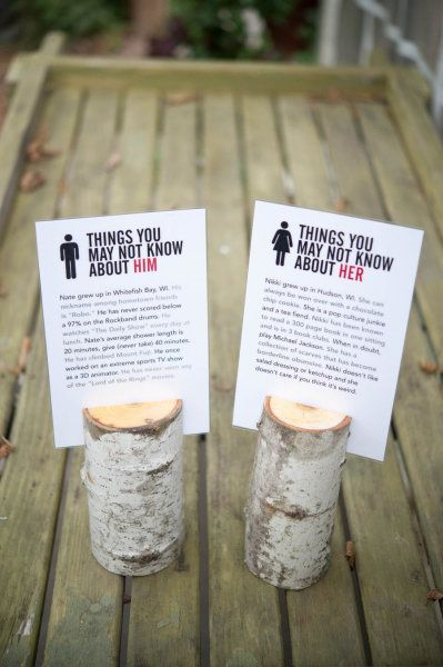 Adorable idea for guests to get to know both the bride and groom!