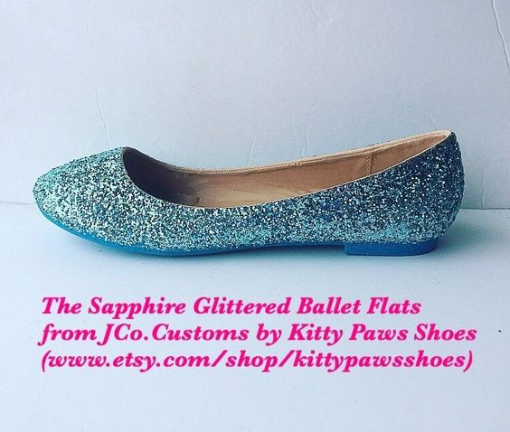 Women Turquoise Blue Light Baby Blue Glitter Shimmer Ballet Flats JCo.Customs  | eBay