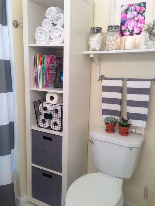 bathroom storage styling - ikea expedit shelf - Interior Dreaming